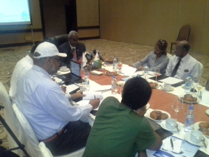 Mr. Abubaker Omar Hadi Chairman of Djibouti Ports & Free Zones Authority in an interview with journalists