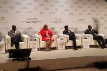 Prominent journalist Maggie Mutesi moderating one of the sessions of AfCFTA business forum, Niamey July 2019.