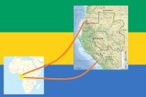 gabon flag with maps